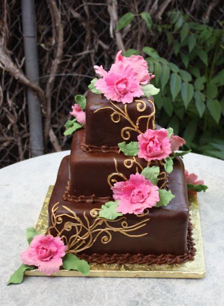 peonies wedding cake - SedonaSweetArts